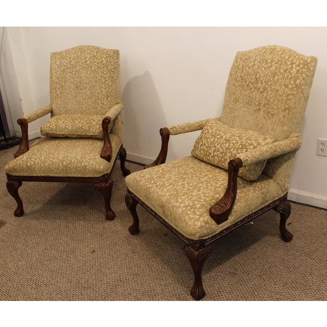 French Ladies Open Arm Ball & Claw Arm Chairs - A Pair - Image 3 of 11