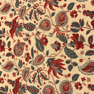 Bennison Cochin - Blue Red on Oyster Fabric- 4 Yards For Sale