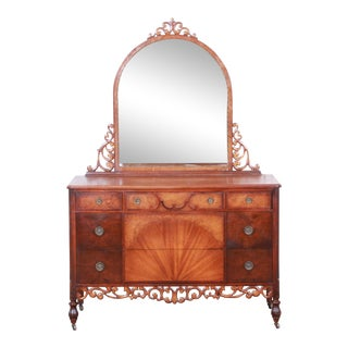 Early Herman Miller Ornate Carved Walnut and Burl Wood Five-Drawer Dresser With Mirror, Circa 1920s For Sale