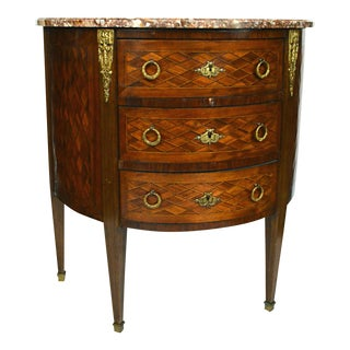 Louis XVI Style Marble Top Demilune Commode For Sale
