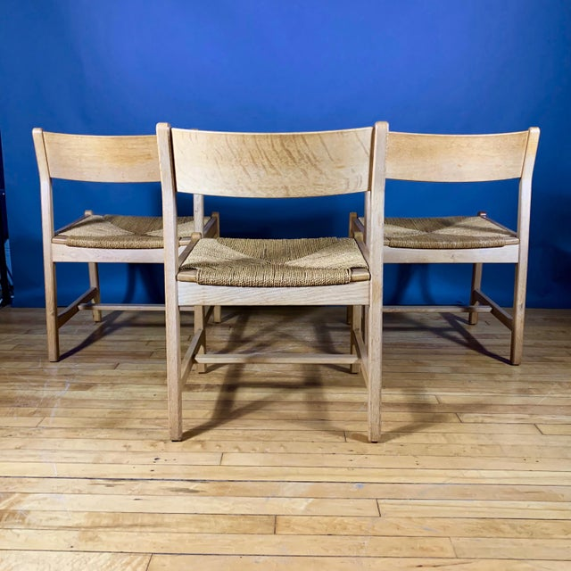 Arts & Crafts 1960s Vintage Børge Mogensen Bm2 Oak & Papercord Dining Chairs- Set of6 For Sale - Image 3 of 13