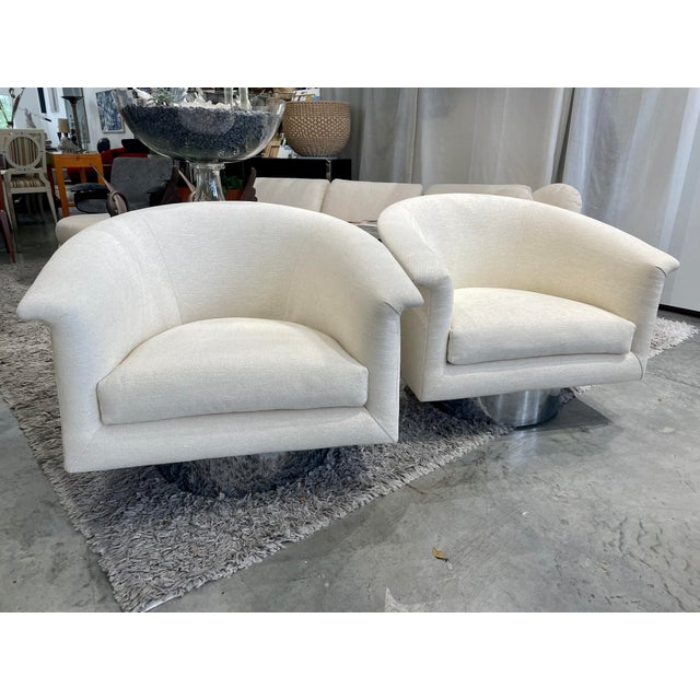1970s Milo Baughman Swivel Chairs - a Pair For Sale - Image 13 of 13