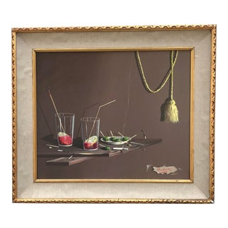 1970s Vintage Alfano Dardari Trompe L' Oeil Surreal Still Life Painting For Sale