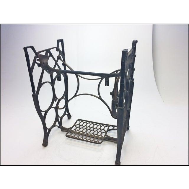 Vintage Industrial Black Iron Treadle Sewing Machine Base - Image 6 of 11
