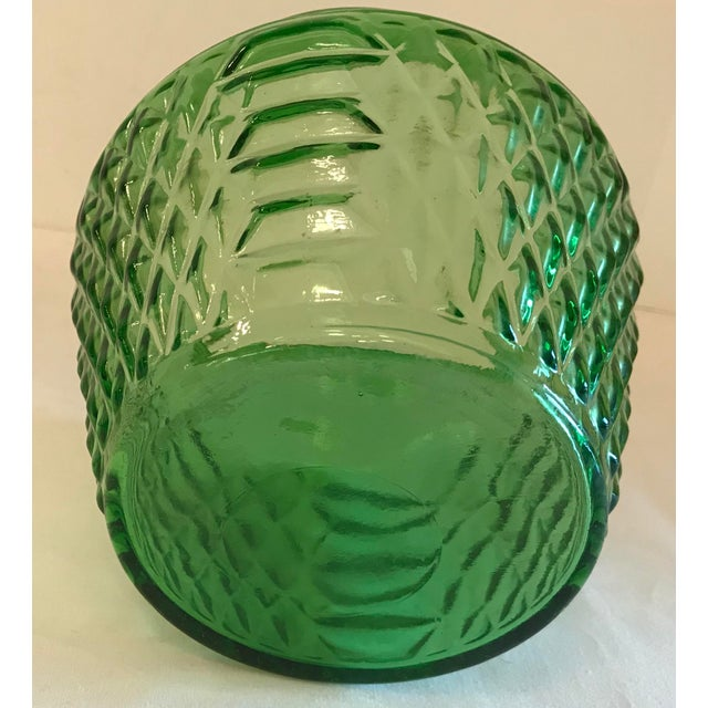 Glass Mid Century Green Glass Patterned Vase/Planter For Sale - Image 7 of 8