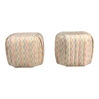 Vintage Designer Pair of Poufs/Ottomans by Preview Furniture For Sale