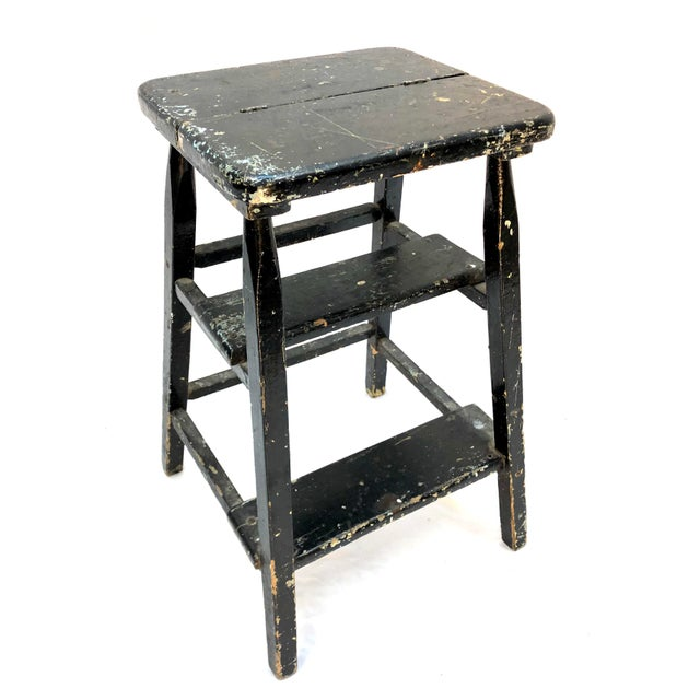 We think it's a piece of art. Awesome vintage wooden step stool with Jackson Pollock splatter paint surface. You just...
