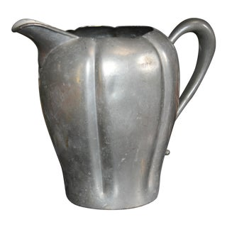 Early 20th Century Scalloped Pewter Pitcher For Sale