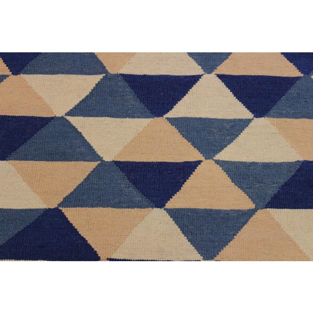 2000 - 2009 Retro Kilim Blue Hand-Woven Wool Rug - 6′4″ × 8′9″ For Sale - Image 5 of 8