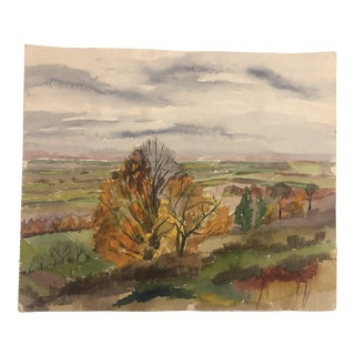 1960s Beatrice Shultz Impressionist Inspired Autumn Scene Painting For Sale