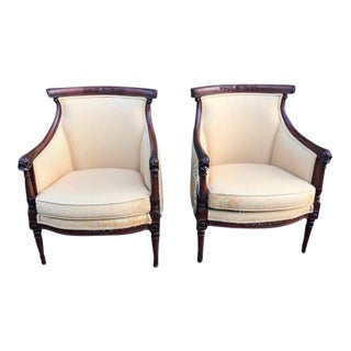 Vintage Wood Gondola Mid Century Regency Dolphin Chairs - a Pair For Sale