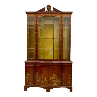 Chippendale Style Red Chinoiserie Cabinet For Sale