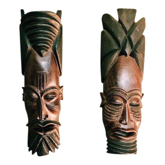 Vintage Hand-Carved Tribal Warrior Masks - A Pair - Image 1 of 6