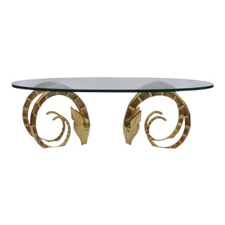 Vintage Brass Ibex Rams Head Coffee Table For Sale