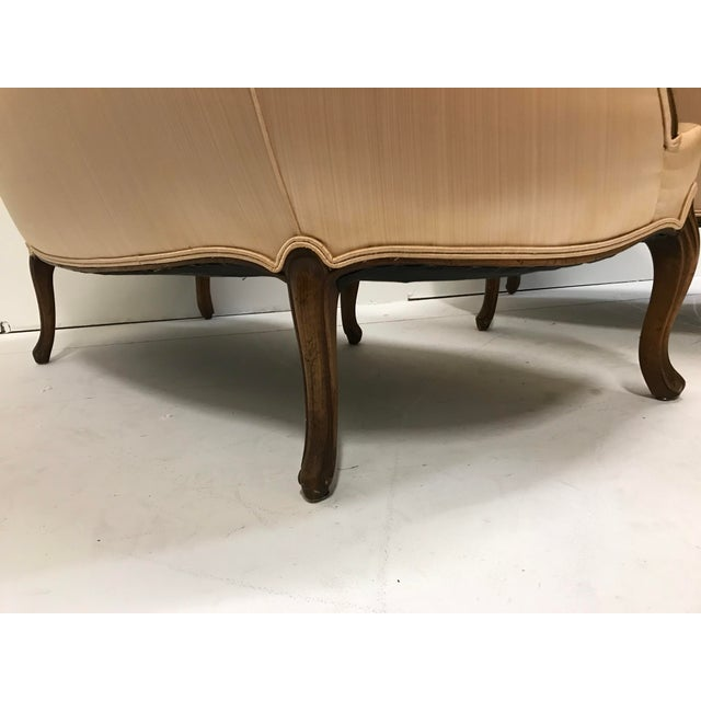 1960s Country French Loveseats Settee Cabriole Leg Louis XV Style Button Tufted Carved Frame - a Pair For Sale - Image 10 of 12