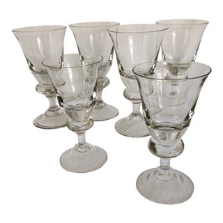 Stueben Teardrop Style Crystal Water Glasses - Set of 6