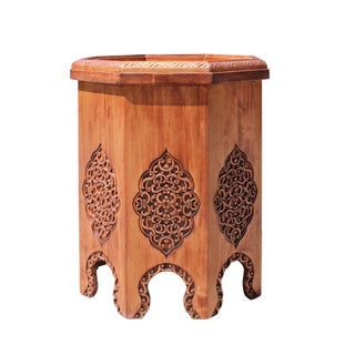 Asian Octagon Floral Relief Carving Side Table Stand For Sale
