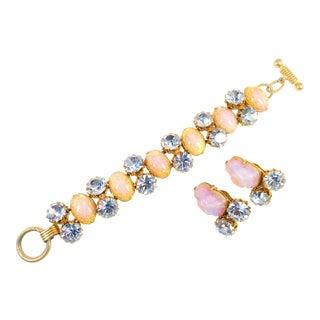 Schiaparelli Opal Art Glass Bracelet Suite 1950s For Sale