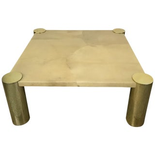 Enrique Garcel Goatskin and Brass Coffee or Cocktail Table For Sale