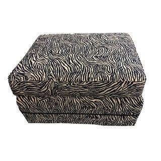 "Custom Made Lg Animal Print Zebra Ottoman 17"" H by 30"" W For Sale"
