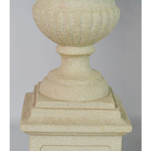 Late 20th Century Pair of Vintage Italian Painted Tole Lemon Bush Lamps in Cast Stone Urns For Sale - Image 5 of 13