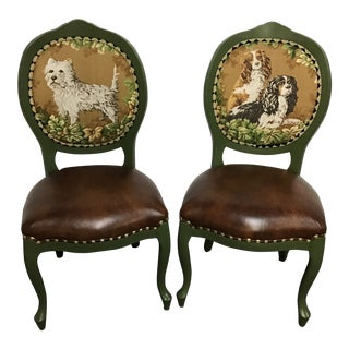 Vintage Framed Side Chairs With Dog Tapestry- a Pair For Sale