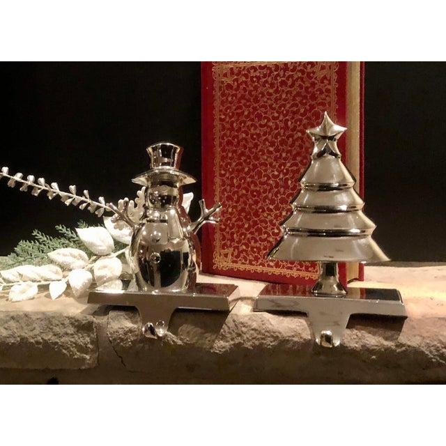 Metal Vintage Christmas Tree and Snowman Stocking Hangers Silver Hooks - Set of 2 For Sale - Image 7 of 8
