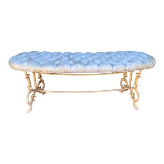 Antique Scalamandre Silk Damask Tufted Painted Metal Bench For Sale