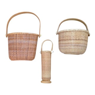 Woven Birch Nantucket Baskets - Set of 3 For Sale