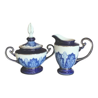 Bombay Company Porcelain China Cobalt Blue and White Creamer and Sugar Bowl With Lid - Set of 2 For Sale