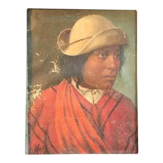 Rare Antique Indian Portrait Oil Painting For Sale