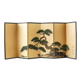 Japanese Miniature Six Panel Screen of Ancient Pine For Sale