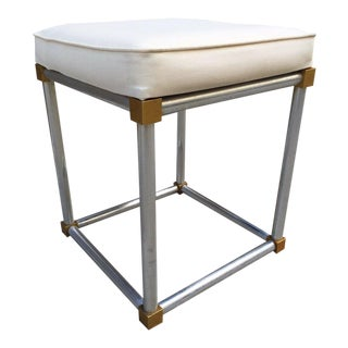French Chrome and Brass Stool For Sale