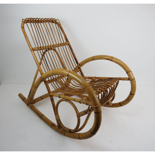 Vintage Franco Albini Style Bamboo Rocking Chair For Sale - Image 13 of 13
