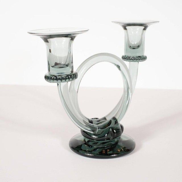 1970s Pair of Mid-Century Modern Trumpet Form Smoked Grey Clear Glass Candlesticks For Sale - Image 5 of 13