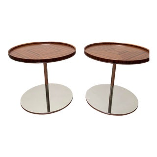 Bolier for Decca Home Modern Round Walnut Veneer Side Tables - a Pair For Sale