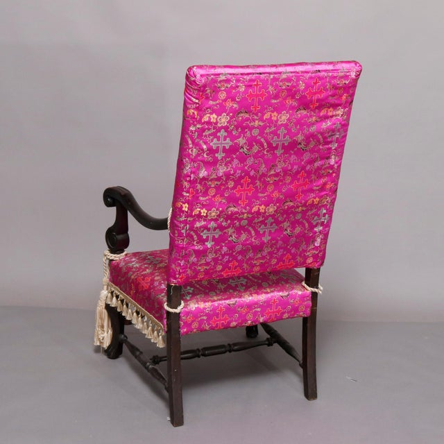 Pink 1920s Antique English Elizabethan Style Carved Mahogany Throne Chair and Stool For Sale - Image 8 of 13