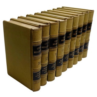 Nine Leather Volumes of Civil Regestry Books for County of Alameda California For Sale