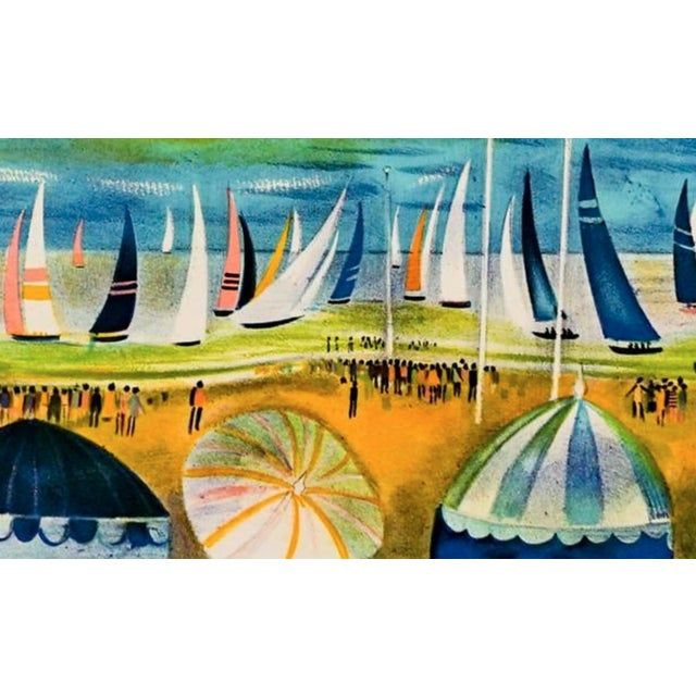 Mid-Century Modern Fench Beach Lithograph For Sale - Image 4 of 5