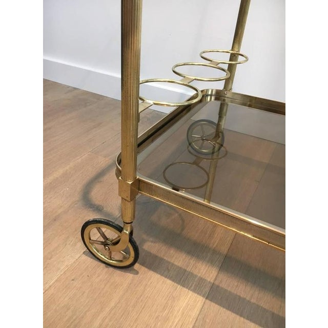 1960s French Brass and Smoked Glass Bar Cart - Image 5 of 11