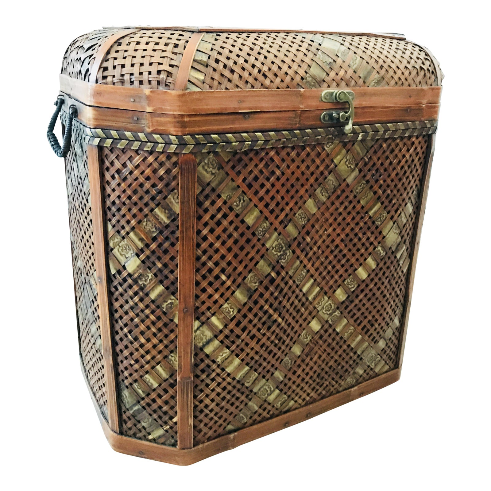 Vintage Chinese Bamboo Wedding Basket Trunk Blanket Chest With Hinges