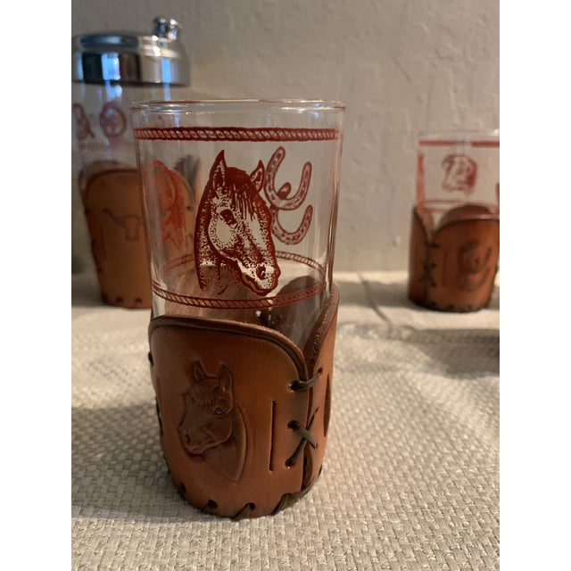 Mid-Century Western Theme Leather Accent Glasses and Shaker - 11 Piece Set For Sale In San Francisco - Image 6 of 9