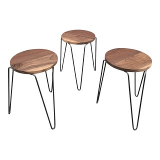 Restored! Fantastic Florence Knoll Stacking Stools Custom Solid Walnut Tops For Sale