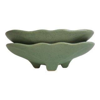 McCoy Mid Century Shallow Planters - Pair For Sale