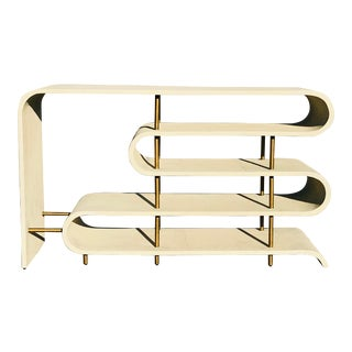 Modern Shangreen Ribbon Brass Sculptural Console Table For Sale