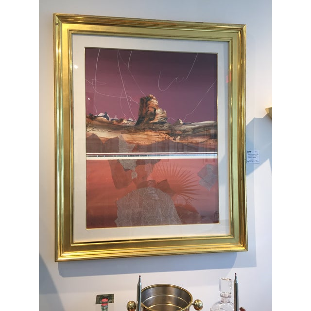 Harold Larsen Abstract Landscape Watercolor Painting in Gilt Frame For Sale In West Palm - Image 6 of 7