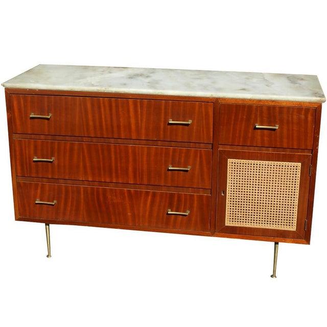 Wood Vintage Cane Marble Dresser For Sale - Image 7 of 7