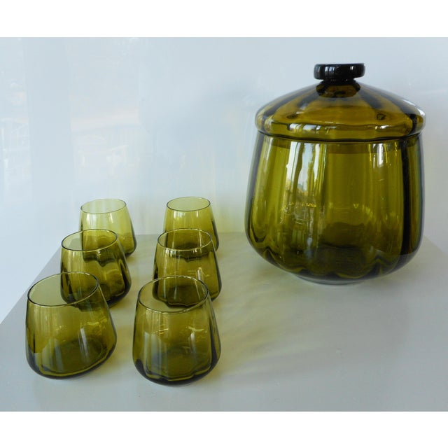 Mid 20th Century Vintage Mid-Century Avocado Green Art Glass Punch Bowl & Cups - Set of 7 For Sale - Image 5 of 9