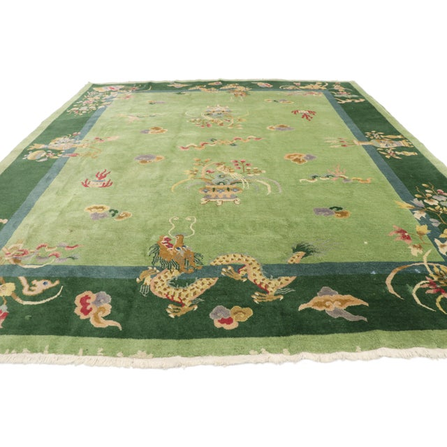 Asian Green Antique Chinese Art Deco Rug - 7′8″ × 8′9″ For Sale - Image 3 of 9