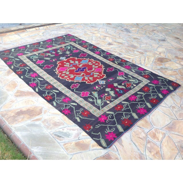 Boho Chic Vintage Turkish Kilim Rug - 6′8″ × 10′2″ For Sale - Image 3 of 7